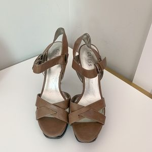 Guess strappy tan-colored platform heels
